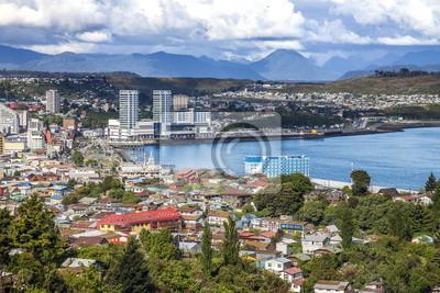 Panoramiczny widok z Puerto Montt, Chile.