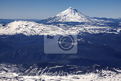 Panoramiczny widok z Villa Rica wulkan w Chile.