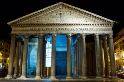 Obraz Panteon w Rzymie w nocy