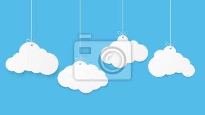 Obraz Paper art with cloud on blue sky. Copy space. Speech Bubble, White blank hanging.