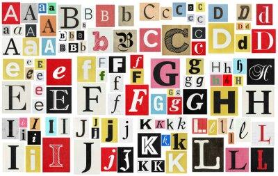 Obraz Paper cut letter newspaper magazine cutouts. Creative message