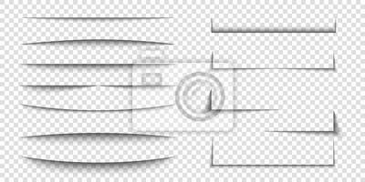 Obraz Paper sheet shadow effect. 3D line edge shape. Transparent realistic sheet dividers. Web banner vector drop soft shadows