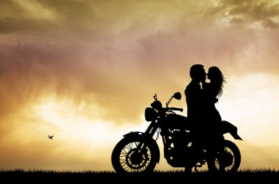 Obraz Para całuje na motocyklu