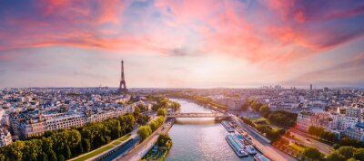 Obraz Paris aerial panorama with river Seine and Eiffel tower, France. Romantic summer holidays vacation destination. Panoramic view above historical Parisian buildings and landmarks with sunset sky