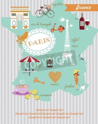 Obraz Paris card design  vector illustration