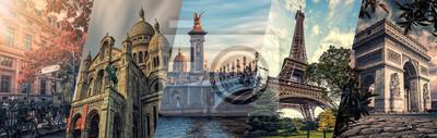 Obraz Paris famous landmarks collage