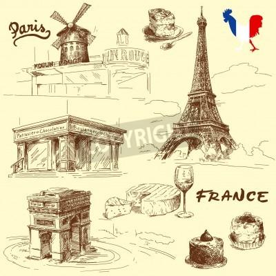 Obraz Paris - hand drawn collection