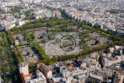 Paris, panoramiczny widok na cmentarzu Montparnasse