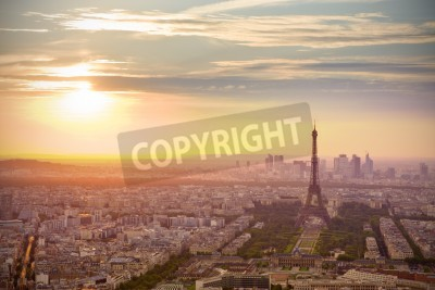Obraz Paris skyline at sunset with Eiffel tower on the right