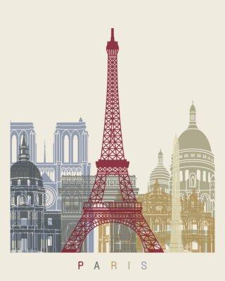 Obraz Paris skyline plakat