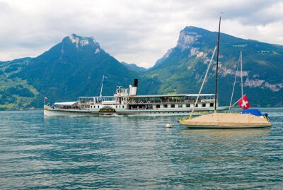 Obraz Parowiec na Jezioro Thun