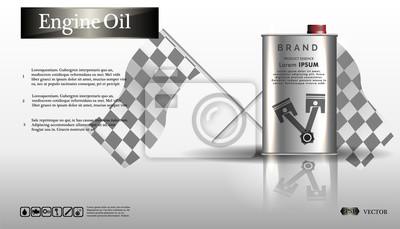 Parowozowy olej w żelaznym słoju. Butelka oleju silnik na białym tle z przekładnią, czysty wektor. Realistyczny obraz 3D. szablon reklamy kanister z logo marki Blueprints. .EPS10