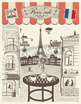 Obraz Paryska ulica restauracja z widokiem na Wieżę Eiffla