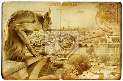 Paryski zabytkowe karty-Notre-Dame
