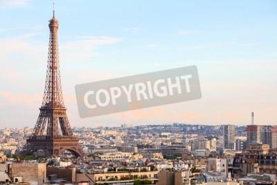 Obraz Paryż, Francja - pejzaż z wieży Eiffla w świetle słońca.