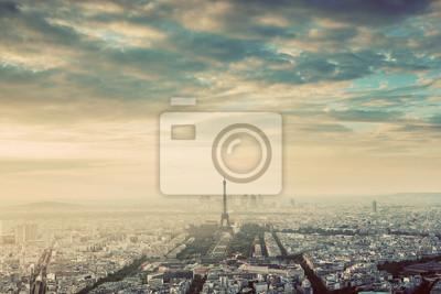 Paryż, Francja rocznika skyline, panorama. Wieża Eiffla, Champ de Mars
