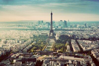 Obraz Paryż, Francja rocznika skyline, panorama. Wieża Eiffla, Champ de Mars