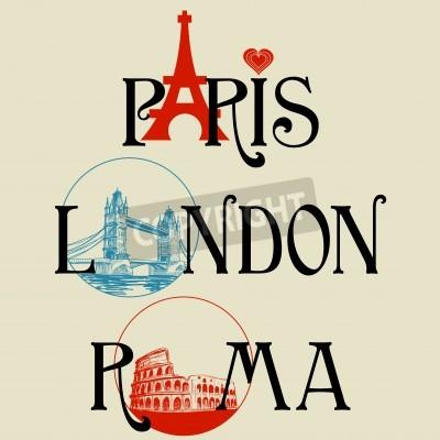Obraz Paryż, Londyn, Rzym liternictwo
