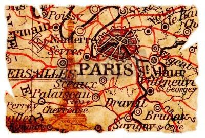 Obraz Paryż na starym mapie poszarpane z wieży Eiffla, samodzielnie. Część starej serii map.