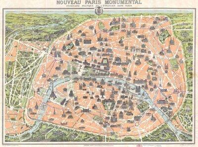 Obraz Paryż rocznika mapę