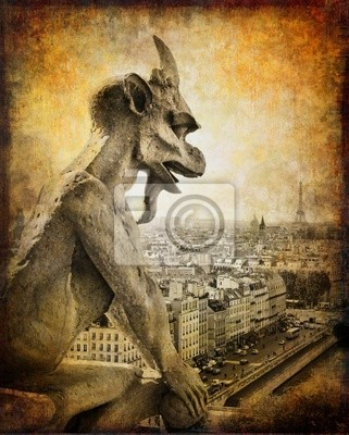 Paryż, widok z Notre Dame - zabytkowe karty