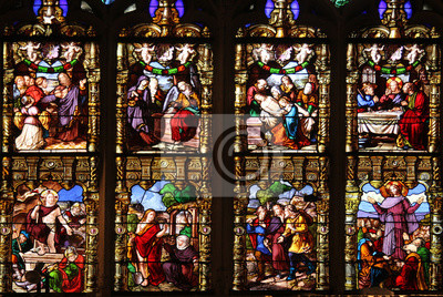 Obraz Passion and Resurrection of Christ, stained glass, Church of St. Gervais and St. Protais, Paris