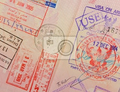 Paszport z pieczęci tajskiej i Hongkong