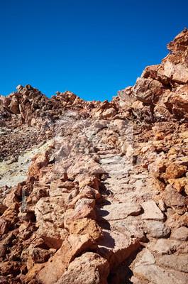 Path to the Mount Teide summit, Teide National Park, Tenerife, Spain.