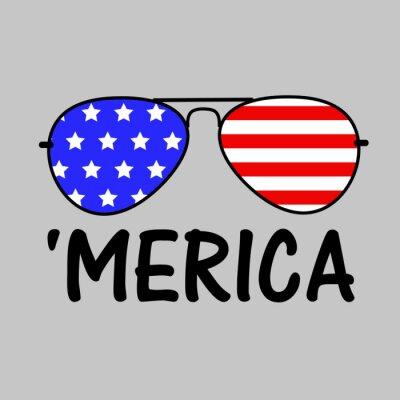 Obraz Patriotic Merica Sunglasses  Independence day