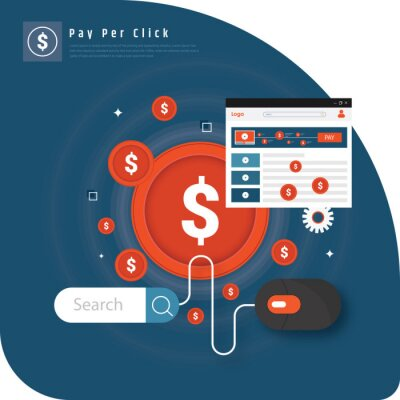 Pay Per Click flat style banner.