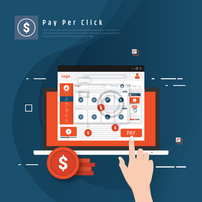 Pay per click flat vector concept with cool colors