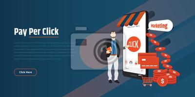 Pay Per Click internet marketing concept