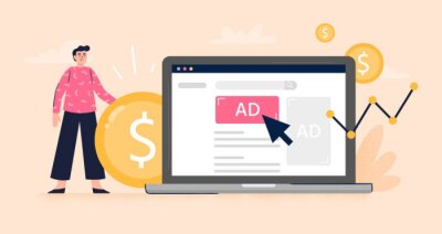 Obraz Pay Per Click or Display advertising concept. Web developer set advertising to gain more money to the business. Flat vector illustration. Good for banners, ads, landing pages or articles.