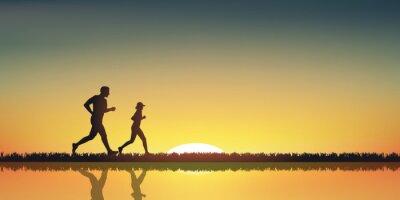 Obraz Paysage jogging Couche de soleil