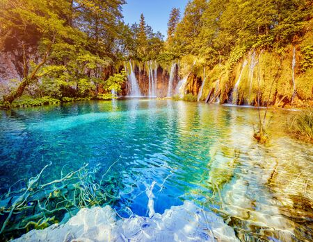 Obraz Peaceful view on paradise waterfalls of Plitvice Lakes National Park. Location place of the Croatian famous resort, Balkans, Europe. Most popular tourist destination. Discover the beauty of earth.