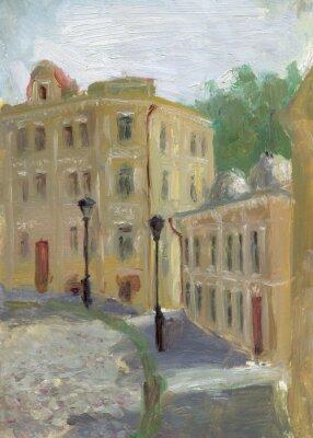 Obraz Pejzaż olej. Ulica starego miasta w słoneczny letni dzień