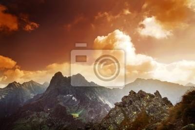 Pejzaż zachód słońca Góry