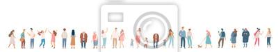 Obraz People crowd. Background people vector horizontal banner. Men and women, parents, kids walking outdoor.