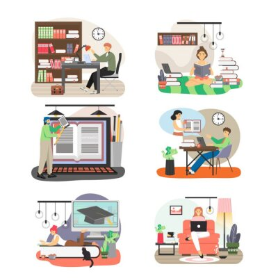 People studying at home, in public library, flat vector isolated illustration. Online learning, remote education.