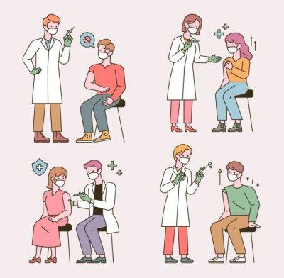 Obraz People who get the coronavirus vaccine shot. flat design style minimal vector illustration.