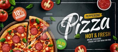 Obraz Pepperoni pizza banner ads