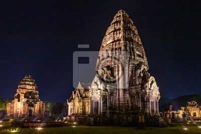 Phi mai castle , historical park and ancient castle  in Nakorn Ratchasima north eastern of Thailand at Night