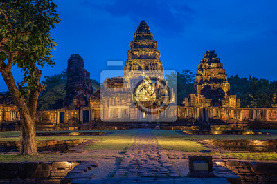 Phi mai castle , historical park and ancient castle  in Nakorn Ratchasima north eastern of Thailand at Twilight