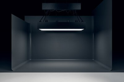 Obraz Photo studio with lighting equipment and black background