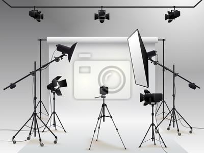 Obraz Photography studio vector. Photo studio white blank background with soft box light, camera, tripod and backdrop. Vector illustration. Isolated on white background