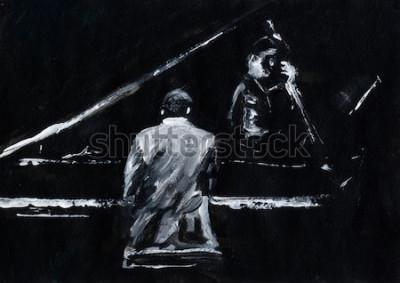 Obraz Pianista i kontrabasista. Koncert zespołu jazzowego. Fortepian i kontrabas grają na scenie. Stylowe czarno-białe malarstwo abstrakcyjne. Widok z tyłu i boku. Muzycy z instrumentami.