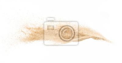 Obraz Piasek na białym tle, zatrzymać ruch, piasek wybuchnąć