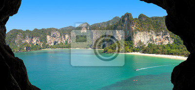 Picture of a paradise island, view from cave.
