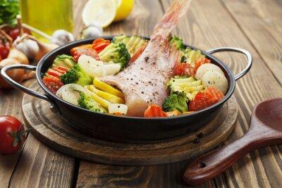 Obraz Pieczona ryba z warzywami