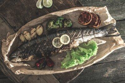 Obraz Pieczony łosoś i warzywa